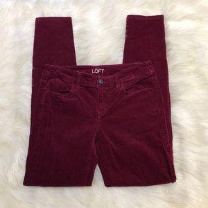 Loft Cranberry Super Skinny Corduroy Pants 25/0